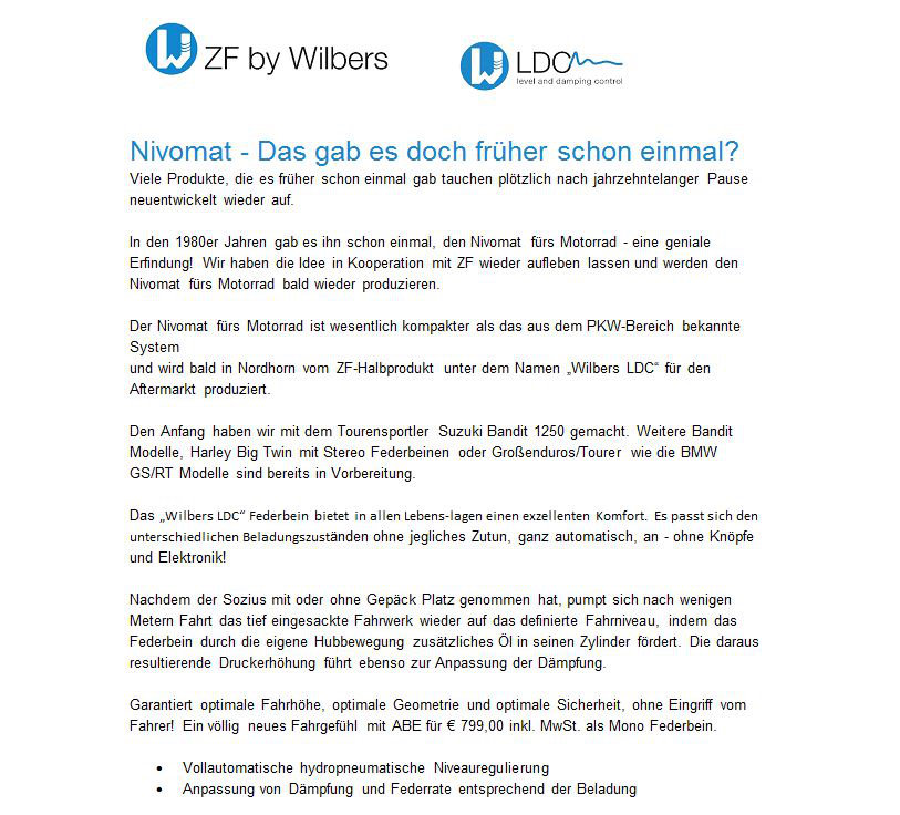 ZF by Wilbers Nivomat LDC